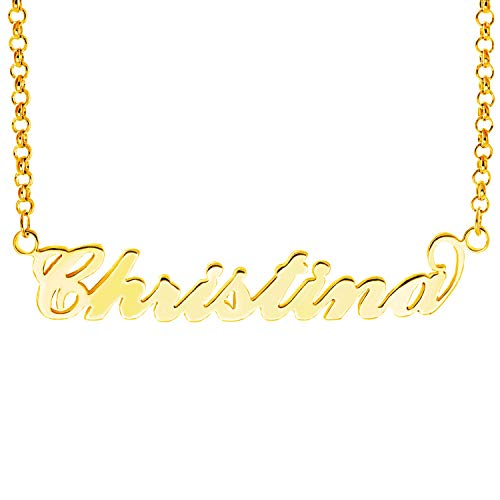 HACOOL Name Plate Necklace Custom Name Necklace Customized Necklace with Any Names in 14K Gold/Silve/Rose Gold Jewelry for Women Christina in Gold