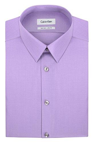 Calvin Klein Men's Non Iron Slim Fit Solid Point Collar Dress Shirt, Iris, 16