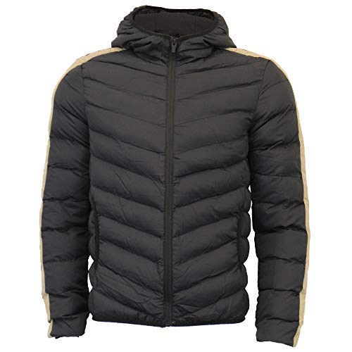 027a28f5db6 Brave Soul Mens Bubble Jacket Reflective Coat Hooded Quilted Padded ...