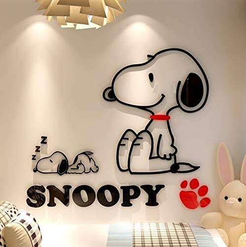 Wandaufkleber Acryl Cartoon Snoopy f/ür Wand 3D Aufkleber 4 Gr/ö/ßen Wandaufkleber f/ür Kinder Zimmer Welpen Hund