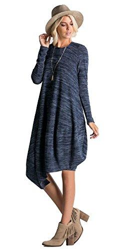 - Tabeez Women's Long Sleeve Asymmetrical Heathered Tulip Bubble Dress (Large.