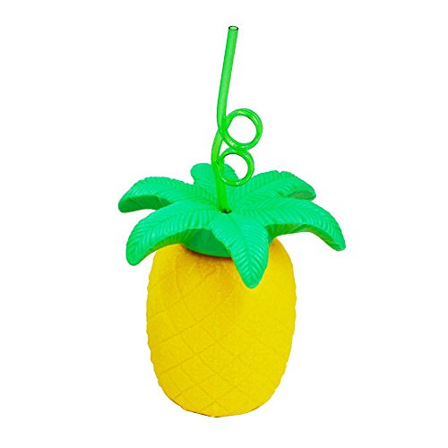Aolvo Pineapple Tumbler Cup, Fruit Pineapple Shaped Portable Travel Cute Straw Cup for Adults and Kids (Yellow)