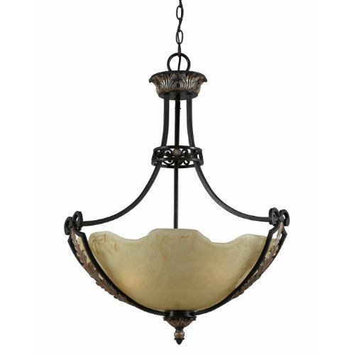 Triarch 31182 Corinthian Collection 3-Light Pendant, Bronze Iron Finish with Scalloped Petal Glass Shade