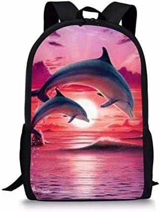 ZERODATE Cute Dolphin Print Backpack for Kids Boys Girls Teens Cool School Book Bag(Red)