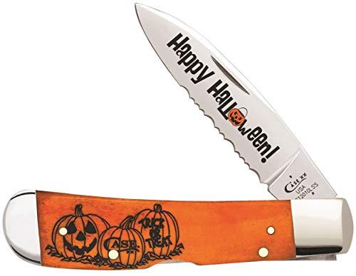 Case XX 10580 Persimmon Orange Bone Halloween 1 Blade Tribal -