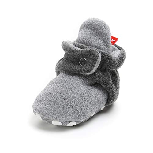 Baby Boys Girls Cozy Fleece Booties With Non Skid Bottom Infant First Walker Sock Shoes (13cm(12-18 months), B-Light Grey/Dark Grey)