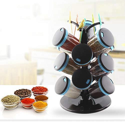 - TUZECH Plastic Revolving Spice Rack Set, 15-Pieces, Blue (Blue)