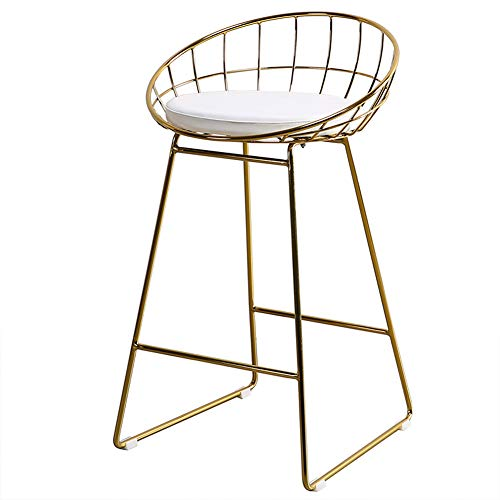 GYCC Bar Stools Kitchen Pub Counter Chairs in Metal Frame High Stools with Faux Leather Cushion, 4-A