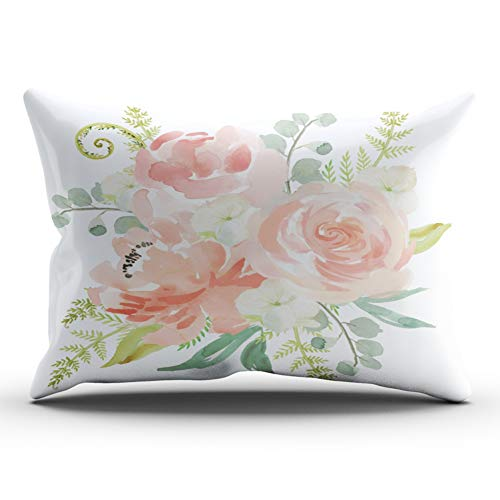 ONGING Decorative Pillowcases Pink Blue and Green Peaches and Cream Watercolor Floral Customizable Cushion Rectangle Lumbar Size 12x24 inch Throw Pillow Case Hidden Zipper One Side Design Printed (Green Pink And Pillows)