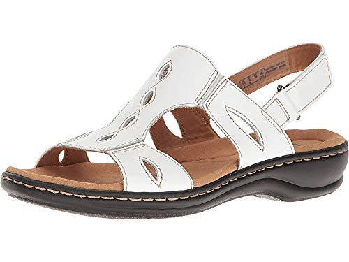 CLARKS Women's Leisa Lakelyn White Leather Shoe