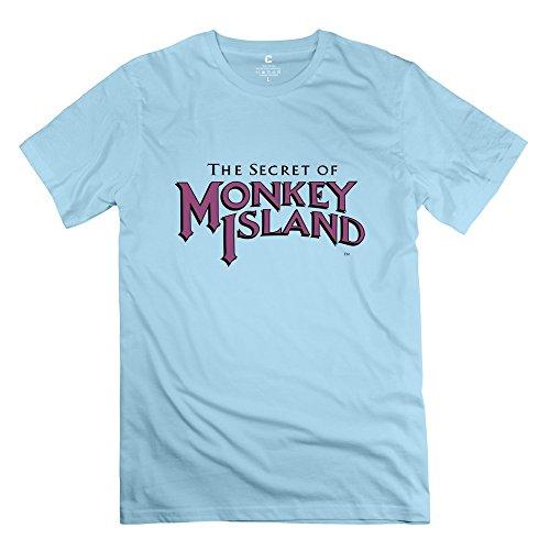 Monkey Island Fashion Short-Sleeve SkyBlue Shirt For Men's Size L