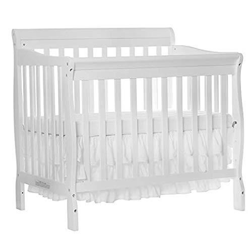 (Dream On Me 4 in 1 Aden Convertible Mini Crib, White with 3 Mini/Portable Crib Mattress, White)