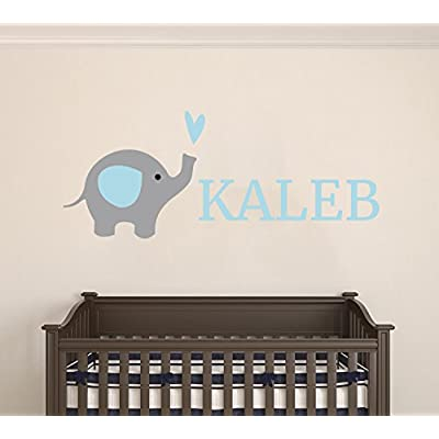 Custom Name Elephant Animal Series - Baby Boy Wall Decal Nursery For Home Bedroom Children (AM24) (Wide 24