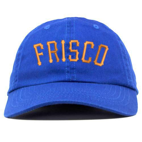 Frisco Text Embroidered Low Profile Soft Crown Unisex Baseball Dad Hat Royal -