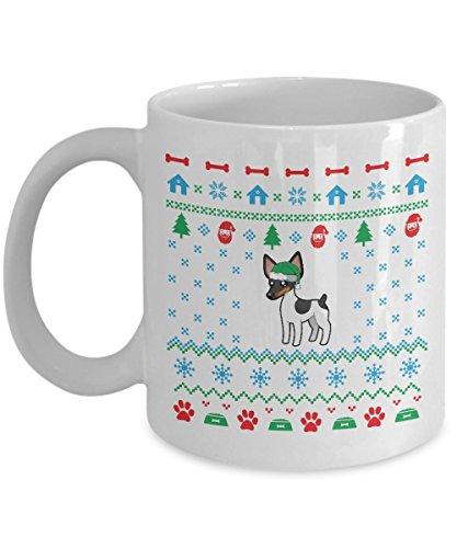 Mug White Rat - Rat Terrier Dog Ugly Christmas Sweater Mug (White, 11 Oz) - Gifts for Rat Terrier Dog Lovers Owners