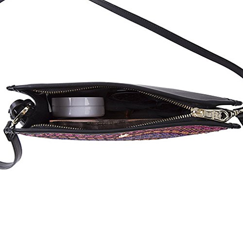 Tassel Bag Woven Tassel Zigzag LUKIS with Women's Pattern Square Bag Black Cross Body Twill Front Ix5Rq