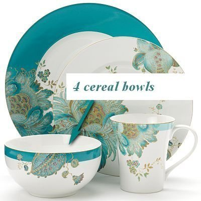 222 Fifth Eliza Teal Paisley Cereal Bowls, Set of 4 by 222