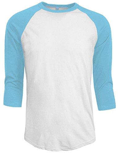 Plain T-Shirt Baseball Tee Raglan Jersey Sports Men's Tee (L, White Light Blue) ()