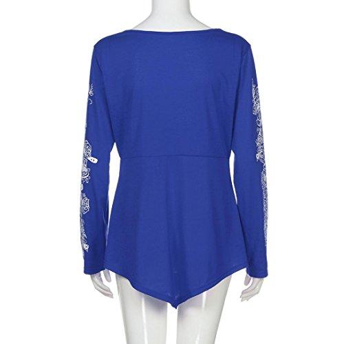 Blusa Lady Summer Joint Active XL AZUL Top Size mujer Plus de Camiseta Casual larga Flowers manga para TpXq6wtqW