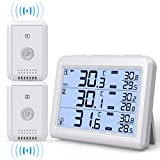 AMIR Upgraded Refrigerator Thermometer, 2 Channels Thermometer with 2 Wireless Sensors, Backlight, Audible Alarm Temperature Gauge for Freezer, Kitchen, Home (Battery not Included)