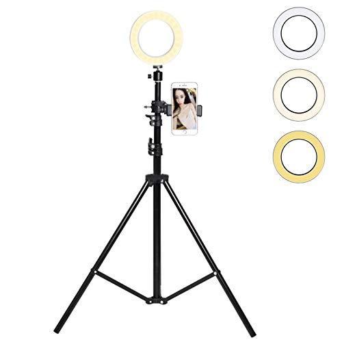 リングフィルライトキット ライブストリーミング用三脚スタンド付き YouTubeビデオ制作 写真 オンライン教育 調光機能付きLED照明 携帯電話ホルダー付き B07KXZ1DPN
