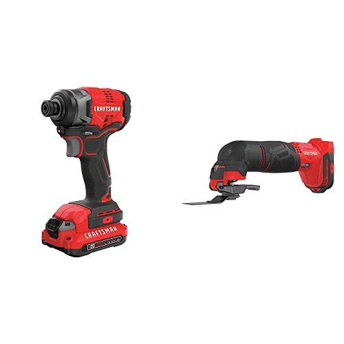 CRAFTSMAN V20 Impact Driver Kit, Cordless with Oscillating Tool CMCF810C1 CMCE500B