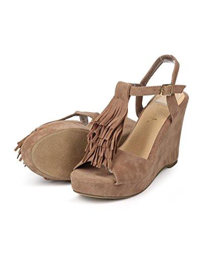 Betani Ek31 Kvinnor Mocka Peep Toe Frans T-rem Wedge Sandal - Stone