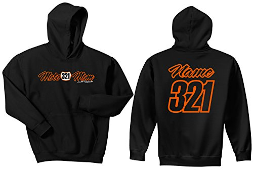 JUST RIDE Moto Mom Motocross Number Plate Custom Personalized Hoodie Sweat Shirt (Large, Orange)