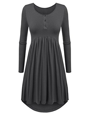 - Beyove Women's Long Casual Oversize Asymmetrical Hem Long Sleeve Jersey Midi Dress Grey XL