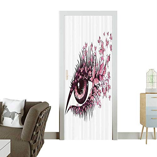 (Homesonne Modern Art Door Sticker Female Eye with Butterfly Eyelashes Mascara Makeup Party Celebrati Environmentally Friendly decorationW32 x H80)
