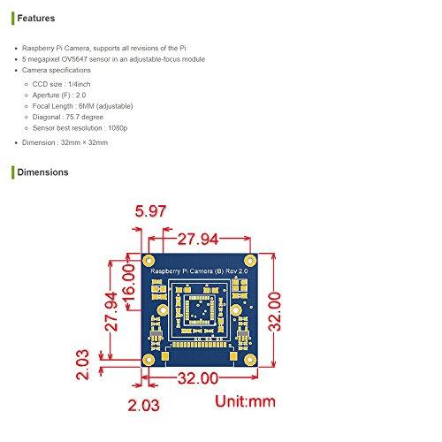 80%OFF Waveshare Raspberry Pi Camera Module Kit 5 Megapixel