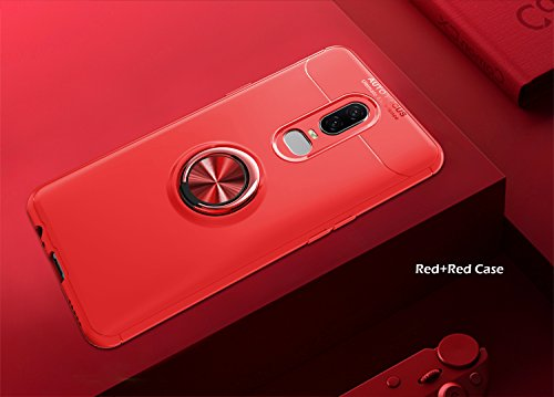 OnePlus 6T Case with HD Screen Protector,I VIKKLY Slim Flexible and Durable Soft [TPU] 360 Degree Rotating Ring Kickstand Shockproof Case Fit Magnetic Car Mount for OnePlus 6T 6.4'' (2018) (Red) by I VIKKLY (Image #2)