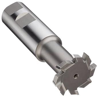 "Niagara Cutter N10980 T-Slot Shank Type Cutter, High Speed Steel, Uncoated (Bright), Weldon Shank, 10 Helix Angle, 1-1/2"" Cutter Diameter, 8 Tooth, 1/4"" Width"