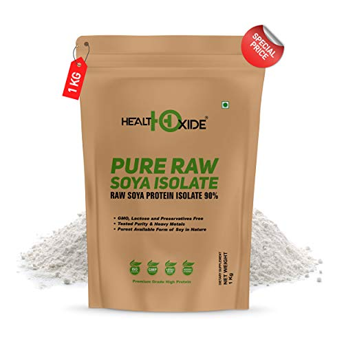HealthOxide Pure Raw Soya Isolate 90% Protein Powder (Raw & Unflavored), 1 kg