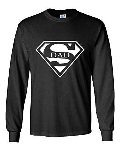 Super Dad Long Sleeve T-Shirt Funny Superhero Father's Day Black XL (T-shirt Super Dad Black)