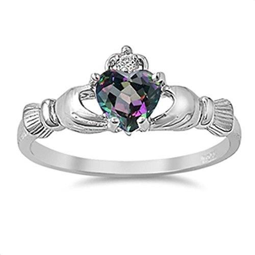 Celtic Claddagh Heart Rainbow Simulated Topaz Ring .925 Sterling Silver Band Size (Topaz Celtic Claddagh Ring)