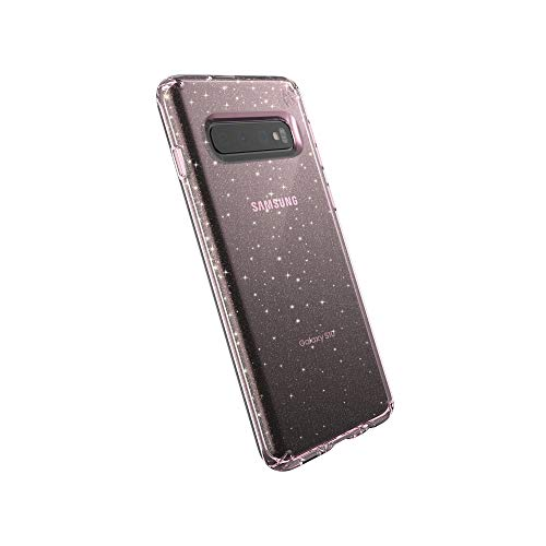 Speck Products Compatible Phone Case for Samsung Galaxy S10, Presidio Clear + Glitter, Bella Pink with Gold Glitter/Bella Pink