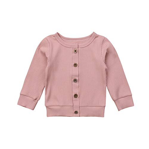 Newborn Toddler Baby Girls Long Sleeve Button Down Knitted Sweater Cardigan Coat (0-3 Months, Pink)