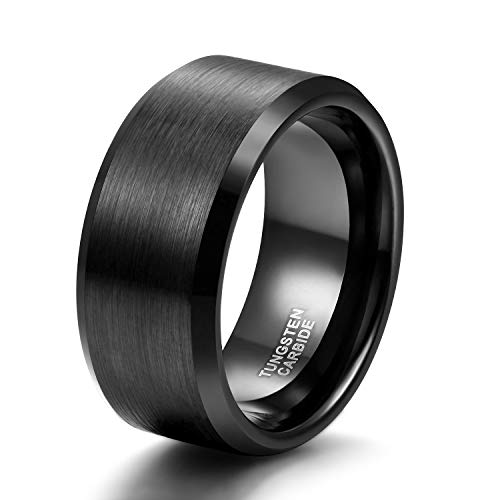 Quality Tungsten Ring - Shuremaster 10mm Tungsten Wedding Band Ring for Men Women Black Beveled Edge Brushed Wide Comfort Fit Size 14.5