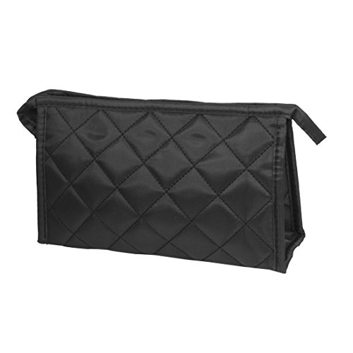 Price comparison product image Portable Black Grid Pattern Zipper Closure Cosmetic Storage Bag for Woman by Rosallini