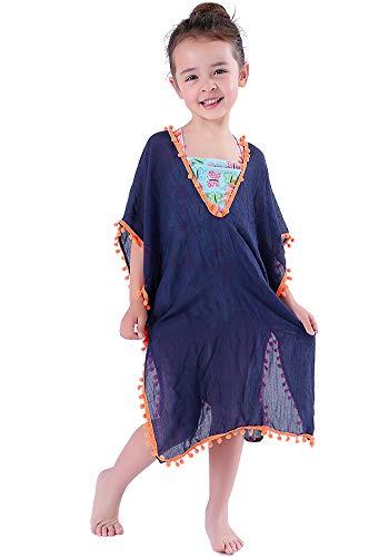 MissShorthair Fashion Girls Cover-ups Swimsuit Wraps Beach Dress Top with Pompom Tassel, One Size,4 Dark Blue]()