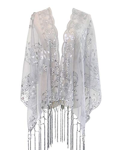 L'vow Women's Gatsby 1920s Scarf Glitter Mesh Sequin Wedding Cape Shawl Fringed Evening Wrap (Grey)