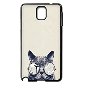 Samsung Galaxy Note 3 Case,Cool Cat Glasses Hard Shell Back Case for Black Samsung Galaxy Note 3 Okaycosama356493