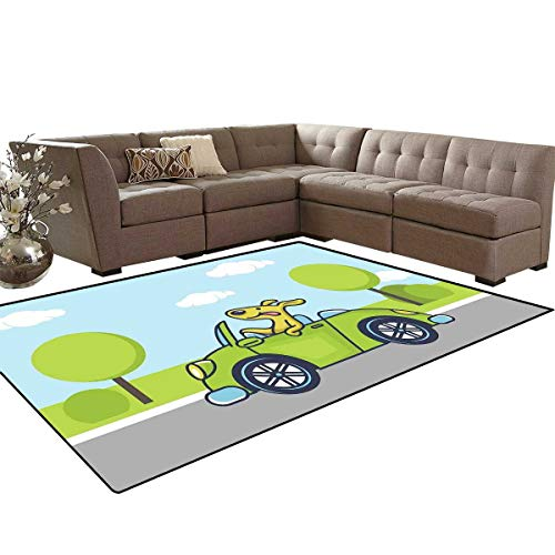 (Dog Driver Kids Carpet Play-mat Rug Puppy on The Road Car Jack Russell Journey Terrier Speed Race Cartoon Room Home Bedroom Carpet Floor Mat 6'6