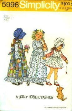 Simplicity 5996 Holly Hobbie Dress Pattern Costume Girls Size 3 (Breast 22) Vintage -