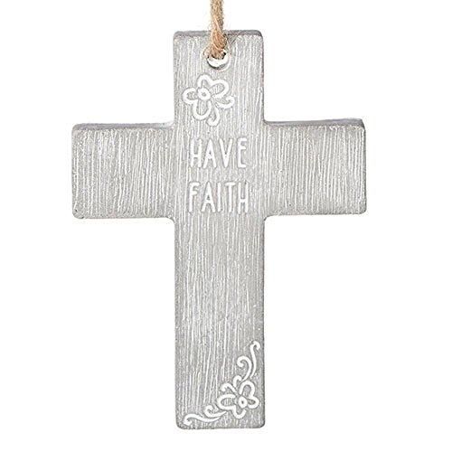 Have Faith Floral Detail Weathered And Textured Gray 3 x 4 Cement Wall ()