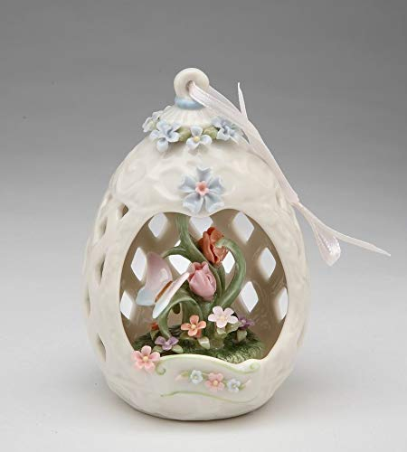 Porcelain Musical Egg - Cosmos Gifts Fine Elegant Porcelain Butterfly with Tulips and Inside Woven Weaved Egg IC Musical Ornament Figurine (Music Tune: You are My Sunshine), 4-1/4