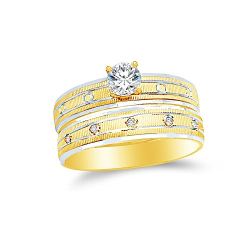 Size - 6 - 14k Two Toned Gold Highest Quality CZ Cubic Zirconia Round Bridal Engagement and Wedding Two Ring Set (1/4ct. Center Stone) ()