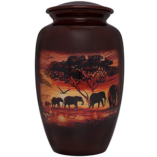 (Liliane Memorials Brown Funeral urn with Elephant Family - Cremation Urn for Human Ashes - Aluminum -Suitable for Cemetery Burial or Niche - Large Size fits Remains of Adults up to 200 lbs)
