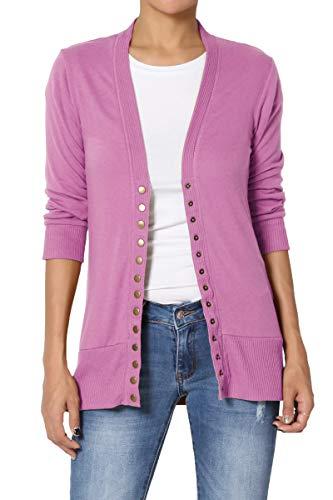 TheMogan Women's Snap Button V-Neck 3/4 Sleeve Layering Knit Cardigan Dark Mauve 3XL (Cardigan V-neck Sleeve 3/4)